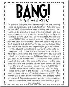 BANG sight word game
