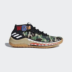 03c916e5abef adidas Originals collaborates with Tokyo-based label BAPE® on these Dame 4  shoes.