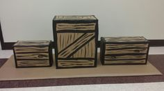 Faux crates for our Everest VBS set. Take any box, wrapped in brown wrapping paper, and free-hand wood grains with any brown paint. Cheap and easy!