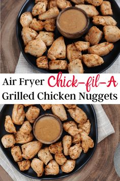 You'll love this copycat recipe for Chick-Fil-A grilled nuggets in the air fryer. Each serving has 27g of protein with just 1g of carbs and 135 calories. Recipe also includes a low calorie honey bbq dipping sauce.