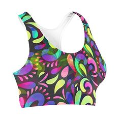 Neon Watercolor Swirls Sports Bra  3XL -- Continue to the product at the image link. (This is an affiliate link) #ExerciseandFitnessWomensClothing