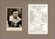 "Signed RIGOLETTO Program/Photograph. ISP, bw, 41/2""x63/4"" signed by Italian baritone ENZO MASCHERINI (1911-1981) in costume in title role of Rigoletto in 1947, matted with signed Philadelphia La Scala Opera Company program page for Rigoletto signed by Mascherini plus fellow cast members EUGENE CONLEY; UGO NOVELLI; and HILDE REGGIANI. #VerdiMuseum"