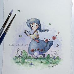 A little hanbok painting. :) #hanbok #poppies #spring #watercolor #illustration #angelasongart