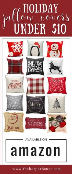 Cheap holiday & Christmas pillows under $10 bucks. Start your Christmas decorating with these super cute affordable Christmas pillows from Amazon! www.theharperhouse.com