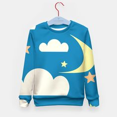 Clouds and moon blue Kid's Sweater