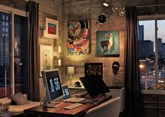 Creative Workspace Inspiration ... Love how the desk floats in the middle of the room, setting it up to enjoy both the city window views AND the lighted art corner.  @Barbara Acosta Wirth Art likes the combination of wrapped canvas paintings, grouped with framed pictures.