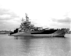 """USS """"West Virginia"""" (BB-48) (q.v.) in July 1944, following her post-Pearl Harbor rebuild. This is how she appeared at the Battle of Surigao Strait (last battleship engagement ever), at Iwo Jima, at Okinawa. As was fitting, she was present at the Japanese surrender, Tokyo Bay, 2 September 1945."""