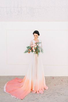 Pink Ombre Wedding Dresses New Hand Painted Dip Dye Silk Wedding Dress Coral Dress Wedding, Dip Dye Wedding Dress, Colored Wedding Dresses, Perfect Wedding Dress, Dream Wedding Dresses, Wedding Gowns, Wedding Colors, Peacock Wedding, Wedding Veil