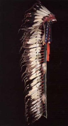 Headdress, Cheyenne. Black Horn. 82 inches. Collection Fenn.  1875-1900. Full trail eagle feather bonnet with American flag streamers tied to the temple on both sides. Beaded brow band on a beaver felt cap with fifty-two tail feathers tied on. White horse tail hair leglets glued to the end of each feather. Fifteen hawk bells strung on brow feathers and four scalloped dewclaws tied on red basket-bead decorated drops hanging from the temples. Splendid Heritage. ДА.