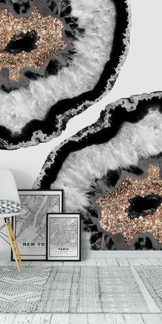 Resin Harz Art Gray Black White Agate 4 wall mural from happywall 4 Wallpaper, Trendy Wallpaper, Rose Gold Marble Wallpaper, Black Gold White Wallpaper, Black And White Marble, Wall Collage, Collage Ideas, New Wall, Resin Art