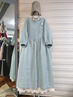 : Cacao Story Olive& Linen Story – Mint Blue … Ca …: Cacao Story Frock Fashion, Abaya Fashion, Muslim Fashion, Modest Fashion, Fashion Dresses, Hijab Style Dress, Hijab Outfit, Linen Dresses, Casual Dresses