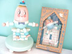 HUMPTY DUMPTY Sat On a Wall... Vintage Irmi Humpty Dumpty Baby Nursery Lamp Light and Switchplate Switch Plate Cover Set