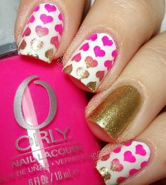 Love theses heart patterned nails by sprinklenails Heart Nail Stencils Love Nails, How To Do Nails, Pretty Nails, Nail Art Designs, Nail Polish Designs, Gel Polish, Nail Stencils, Valentine Nail Art, Nail Patterns