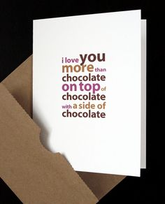 Funny Love Card — I Love You More Than Chocolate Card — For Husband, Wife, Boyfriend, Girlfriend, Anniversary, Birthday, Valentine — by allotria on Etsy