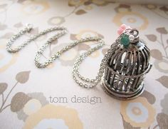 The Birdcage Necklace - Antique Silver with Pink Flower and Vintage Turquoise Stone
