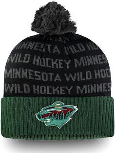87af055e82d6c NHL Men s Minnesota Wild Authentic Pro Rinkside Green Cuffed Pom Knit Beanie
