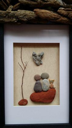 Arte+piedra+pareja+con+perro+arte+arte+por+madebynatureandme
