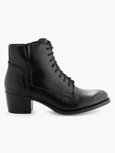 Boots En Cuir à Lacets Noir André