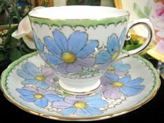TUSCAN WEDGWOOD TEACUP BLUE CHINTZ FLORAL TEA CUP AND SAUCER