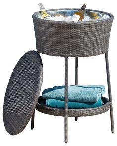 Rosin PE Wicker Ice Bucket Beverage Cooler, Grey contemporary-wine-and-beer-refrigeration