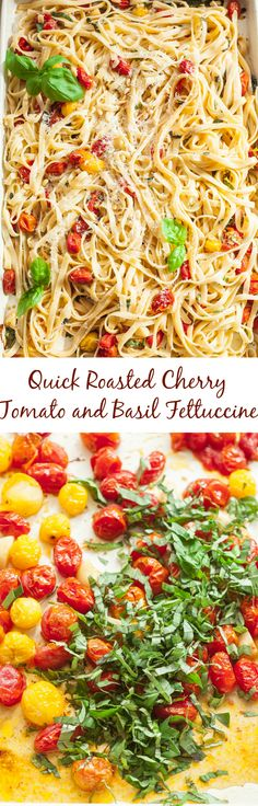 Quick Roasted Cherry Tomato and Basil Fettuccine is a healthy, vegetarian dinner that is also delicious!