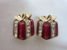 Vintage Enamel & Rhinestone Present Earrings Wrapped Gift Clip On Earrings Free Ship