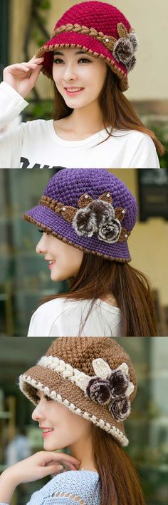e385eb3dbff New fashion women lady winter warm casual caps female beautiful wool crochet  knitted flowers decorated ears