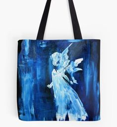 Blue Angel Tote Bag Snowy Forest, Snowy Trees, Beard Winter, Winter Illustration, Winter Fairy, Winter Painting, Nature Artwork, Blue Angels, Blue Art