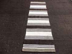 Kilim Feet Cm Black And White Stripe Turkish Rug Runner Vintage Anatolian