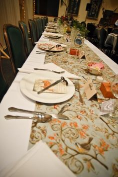 Head table - all plates and glasses were different.
