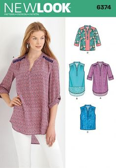 New Look 6374 - Henley blouse sewing pattern