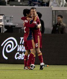 Real Salt Lake midfielder Sebastian Velasquez, right, celebrates scoring a goal with teammate Tony Beltran