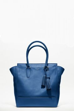 Bold, blue, and the most beautifully vintage-style tote we've seen in a long, long time.  Leather Tanner Tote, $498, available at Coach. | refinery29.com