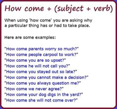How come +(subject + verb) #learnenglish
