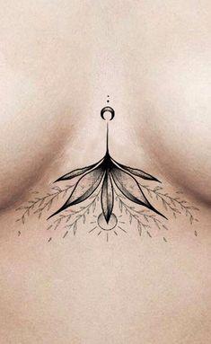 Simple Black Floral Flower Sternum Tattoo Ideas for Women - www.MyBodiArt.com #tattoos
