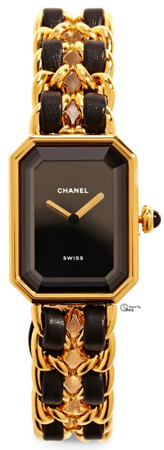 Black & Gold Essence ✦ Chanel ● Vintage Gold And Black Premiere Watch ✦ from my board: https://www.pinterest.com/sclarkjordan/black-gold-essence/