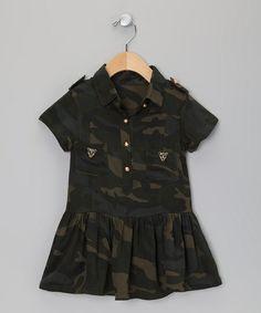 Green Camo Shirt Dress - Toddler & Girls