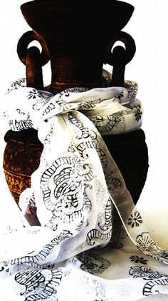 Indian scarf with paisley and flower block