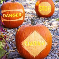 Carved-Message Pumpkins. Enter if you dare. Welcome guests with spooky words of warning. Using stencils, trace the letters onto your uncarved pumpkins; scrape surrounding areas. Place the pumpkins on a walkway or driveway and watch passersby marvel.