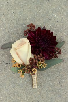 Groom Boutonniere: dahlia and rose with wax flower and seeded eucalyptus //Celebration Flair