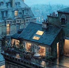 Evening in Paris. By Artist Located in Paris France ______ Welcome to the page ! Your daily dose of the best content ! Tag your friends . City Apartment, Paris Apartments, Parisian Apartment, Apartment Design, Garden Ideas To Make, Paris Rooftops, Beautiful Paris, House Beautiful, Beautiful Homes