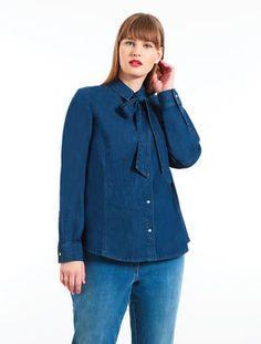 222bbc48691 Lightweight stretch denim shirt Marina Rinaldi, Plus Size Designers, Plus  Size Shirts, Curvy