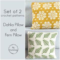 SET of 2 crochet patterns Dahlia Pillow Fern Pillow cushion Crochet Pillow Patterns Free, Crochet Stitches Patterns, Pdf Patterns, Free Crochet, Afghan Patterns, Square Patterns, Free Knitting, Knitting Patterns, Crochet Cushion Cover
