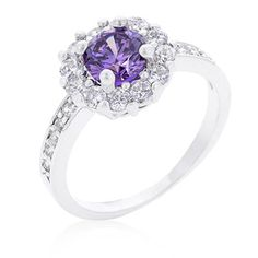 RING   Lavender Halo Engagement Ring   White Gold Rhodium Bonded Lavender Halo Engagement Ring Featuring 2.1 Carats of Cubic Zirconia in SilvertoneSizes: 5  - 10 HAVE A LOOK AT OUR STUNNING USA IMPORT RANGERING SIZE CHARTHave a look at our ring size chart to determine your ring size.  If you are unsure, just measure t Halo Engagement, Diamond Engagement Rings, Swarovski Jewelry, Amethyst, White Gold, Bling, Jewels, Timeless Beauty, Pendant