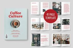 Coffee Culture Magazine by Graphics Collection on Dribbble - Design Magazine Layout Design, Coffee Culture, Indesign Templates, Coffee Design, Magazine Template, Letter Templates, Pencil Illustration, Business Card Logo, Lettering