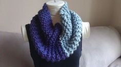 Chunky Grey & Purple Knitted Cowl Infinity by KnotsandBowsBoutique, $25.00