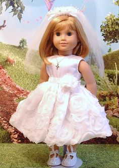 White Roses Communion Dress Veil and Necklace by MyGirlClothingCo