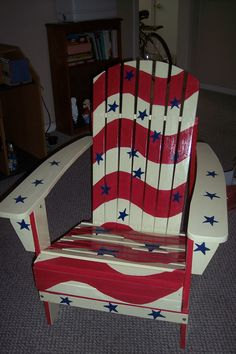 Patriotic Adirondack Chair by darrscat on Etsy