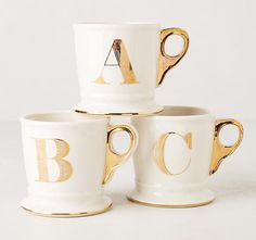 Golden Monogrammed Mug : Gifts Under $15 for adults   Cool Mom Picks Holiday Gift Guide 2016