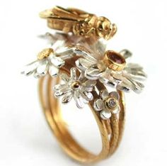 Bee And Flowers Ring Love